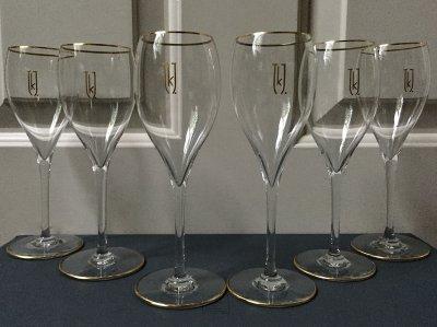 6 bespoke Baccarat crystal & 24k gold Champagne/white wine glasses - Handmade in France