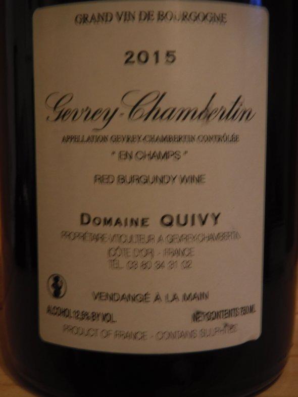 Gerard Quivy, Gevrey Chambertin Champ, Burgundy, Gevrey Chambertin, France, AOC