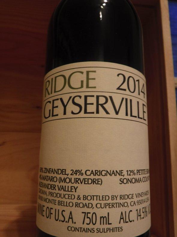 Ridge, Geyserville Zinfandel, California, Napa Valley, United States, AVA