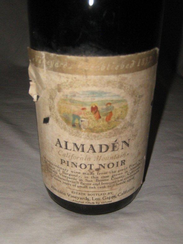 1965 'Almaden', Pinot Noir.  San Benito, California.