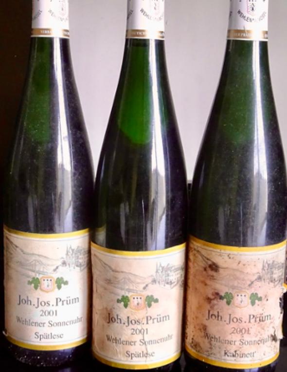 Joh Jos Prum, Wehlener Sonnenuhr Riesling 2 Bt. Spatlese WS 96 and 1 Bt. Kabinett JR 18/20 Mose