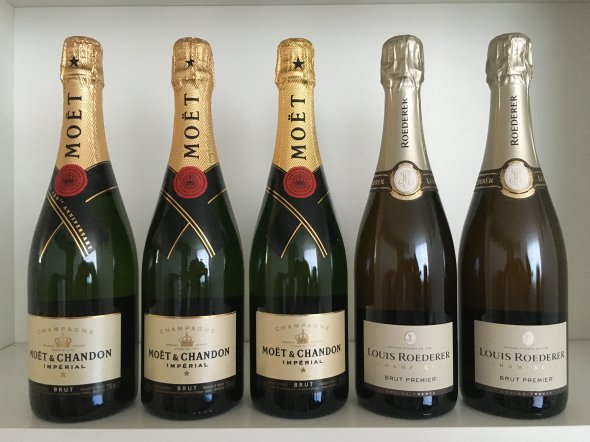 Moet & Chandon, Brut Imperial, Champagne, France, AOC; Louis Roederer, Brut Premier, Champagne, France, AOC; Moet & Chandon, Rose Imperial, Champagne, France, AOC
