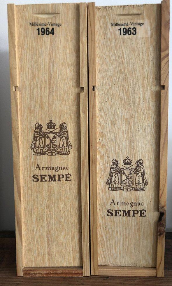 LOT 2 BOTTLES Sempe, Armagnac Vintage 1963 & 1964, Armagnac, France, AOC