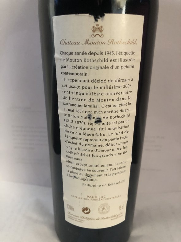 Mouton Rothschild 2003 Bordeaux, Pauillac, France, AOC, 1er Cru