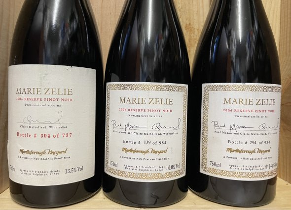 3 bottles of extremely rare Martinborough Pinot Noir Marie Zelie Reserve, Martinborough, New Zealand, Reserve