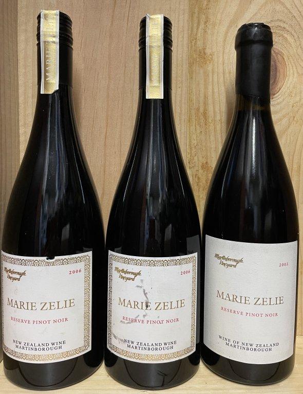 3 bottles of extremely rare Martinborough Pinot Noir Marie Zelie Reserve, Martinborough, New Zealand, Reserve