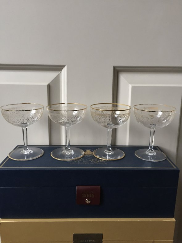 4 Baccarat 24k gold/crystal Champagne Coupes