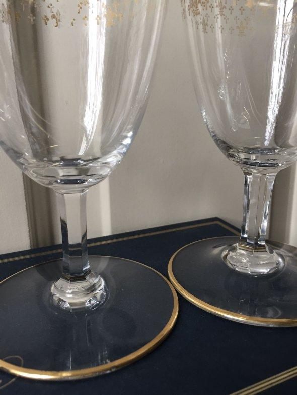 5 Baccarat 24k gold/crystal Champagne glasses
