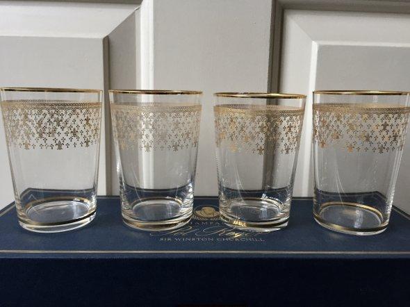 4 Baccarat 24k gold/crystal Highball glasses , NV