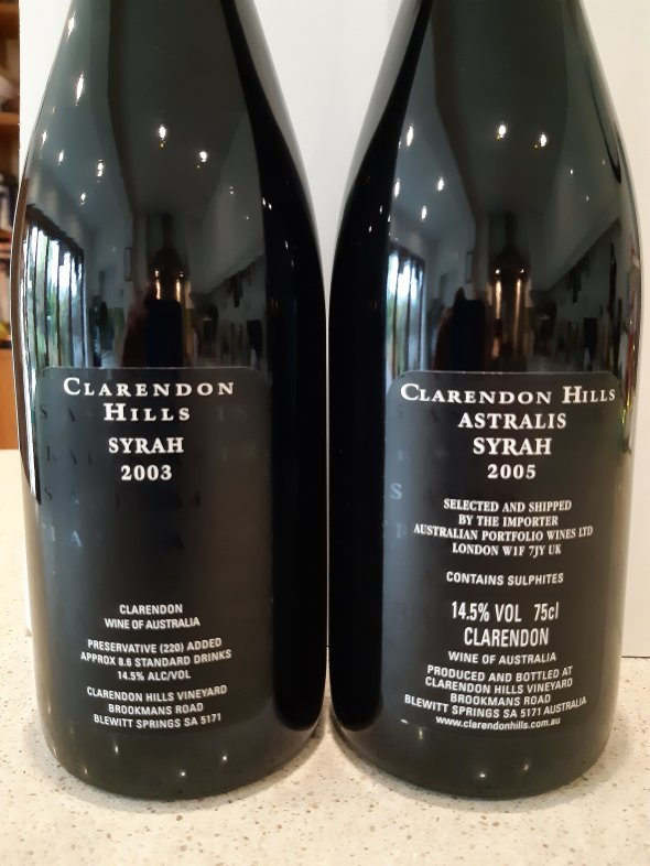 2 x Bottles of Clarendon Hills, Astralis Shiraz. 2003 & 2005 both 99/100RP