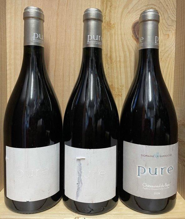 """3 bt Chateauneuf Du Pape """"PURE"""", Domaine de la Barroche ( 2 x 2009 and 1 x 2004)"""