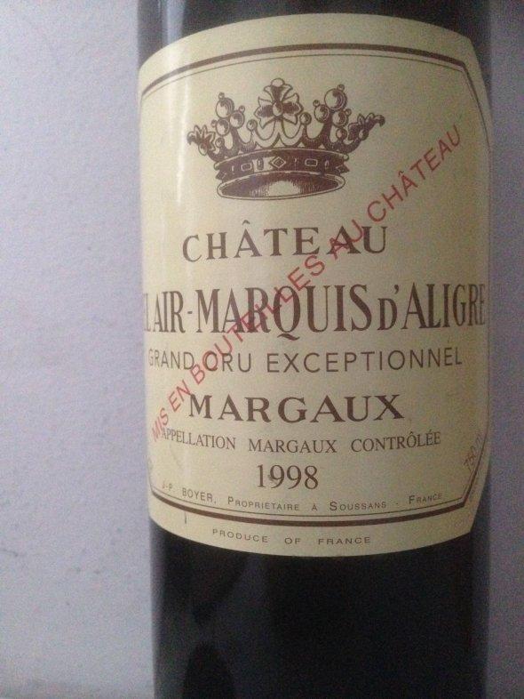 Château Bel Air Marquis d'Aligre Margaux Grand Cru Exceptionnal 1998