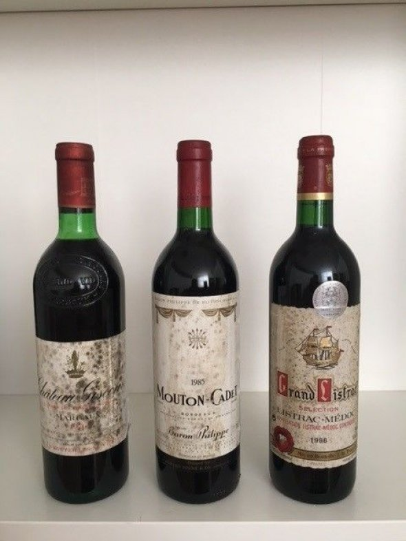 Mixed Claret Lot: 1976 Château Giscours; 1985 Mouton Cadet; 1996 Grand Listrac Selection