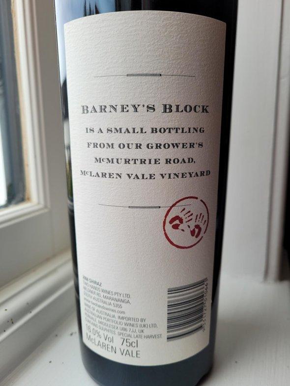 Two Hands, Barneys Block Shiraz, McLaren Vale