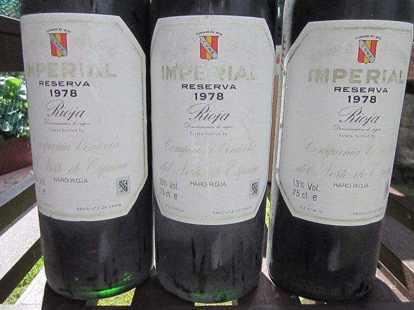 Three Bottles CVNE, Imperial Reserva, Rioja 1978