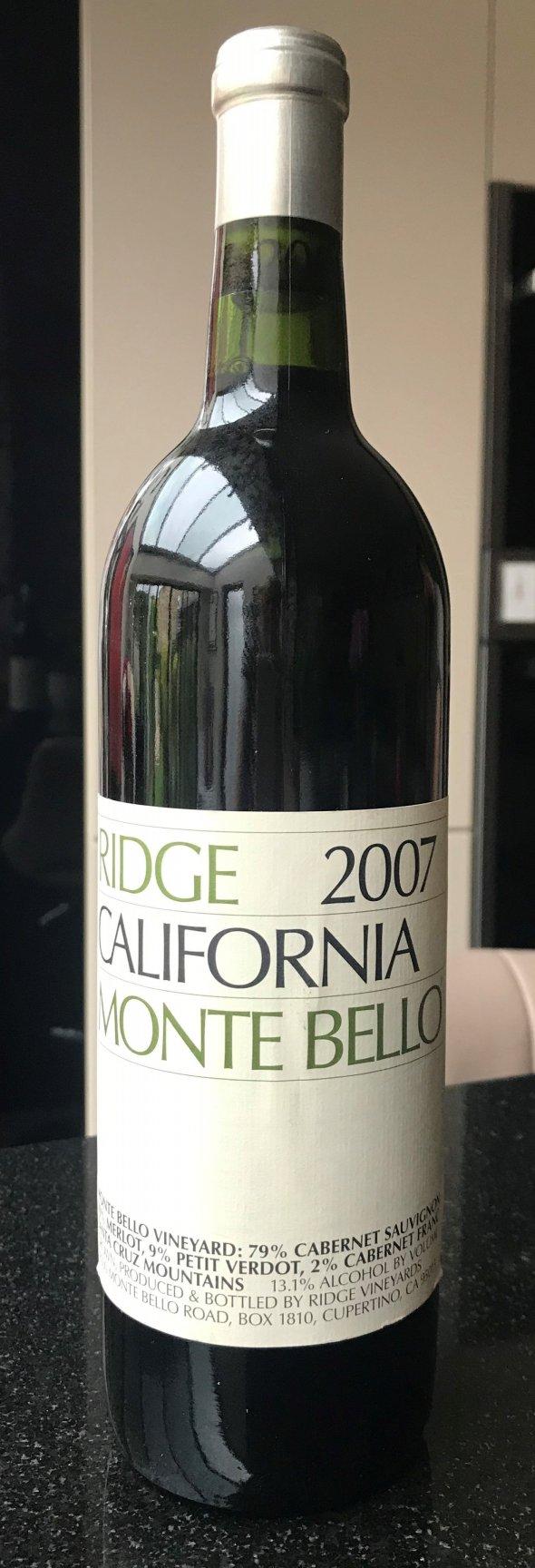 Ridge, California Cabernet Sauvignon Monte Bello, Santa Cruz Mountains