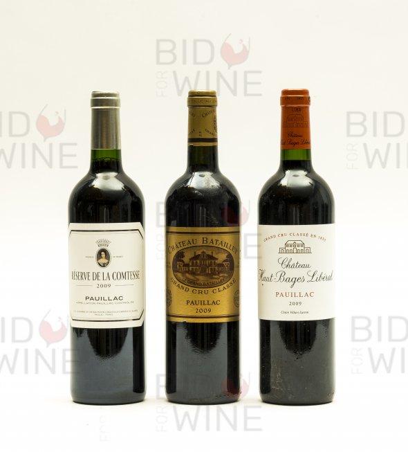 Pauillac Mixed Lot: Reserve de la Comtesse (1 bottle), Chateau Haut-Bages Liberal (1 bottle), Chateau Batailley, (1 bottle)