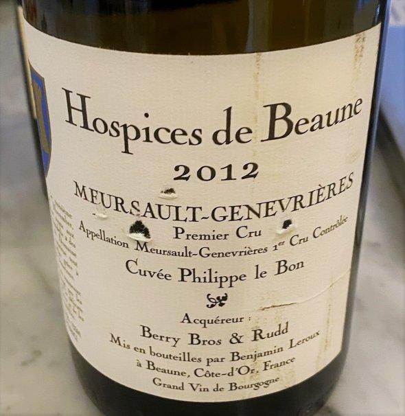 Hospices de Beaune, Meursault Premier Cru, Genevrieres Cuvee Philippe Le Bon (acquired by Berry Bros. & Rudd)